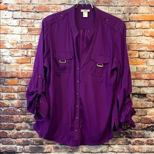 Purple silk cache button up long sleeve blouse